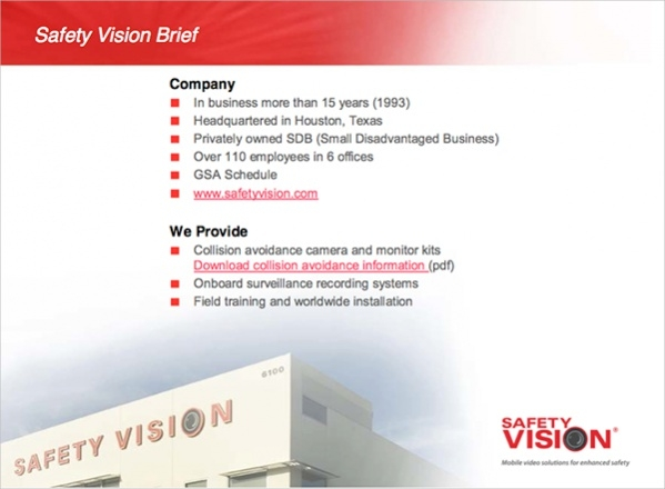 Safety Vision Powerpoint Presentation