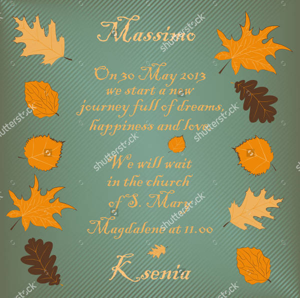 Sample Fall Wedding Invitation