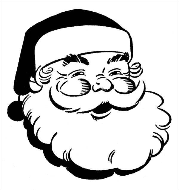 Santa Black and White Clipart
