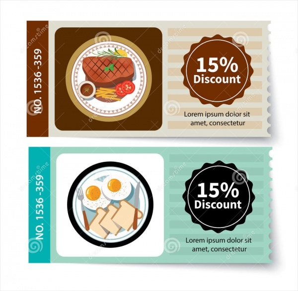 set of food coupon design