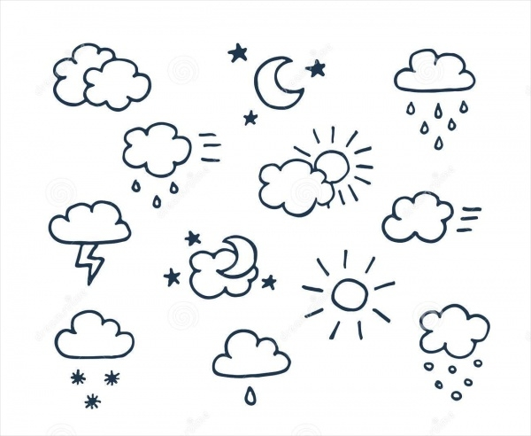 Set of Hand Drawn Weather Icons