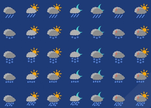 Set of Weather Cloudy Icons