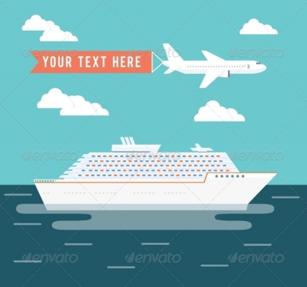 ship and plane travel poster