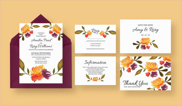Simple Fall Wedding Invitation