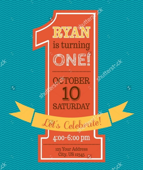Simple First Birthday Invitation