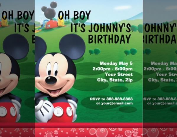 Simple Mickey Mouse Birthday Invitation