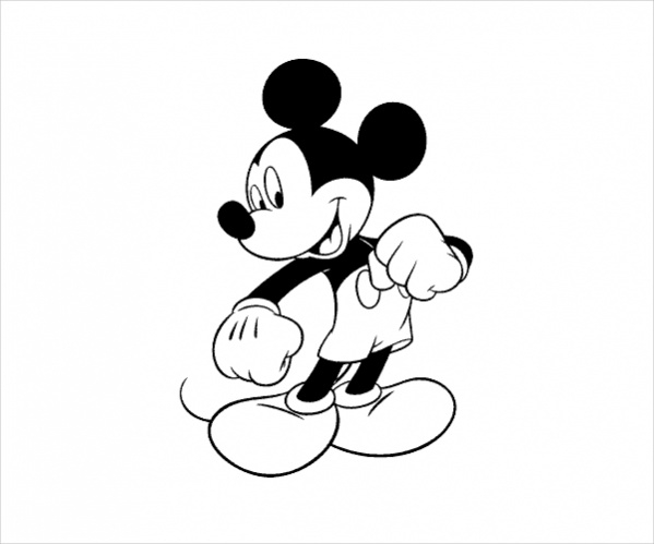 Simple Mickey Mouse Coloring Page