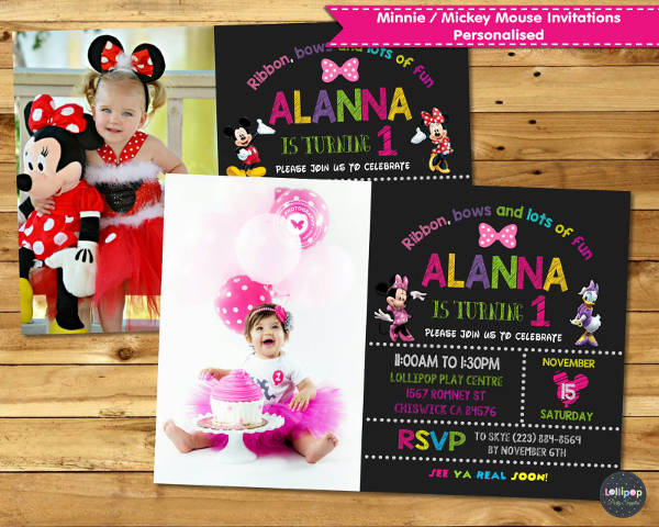 Simple Minnie Mouse Birthday Invitation