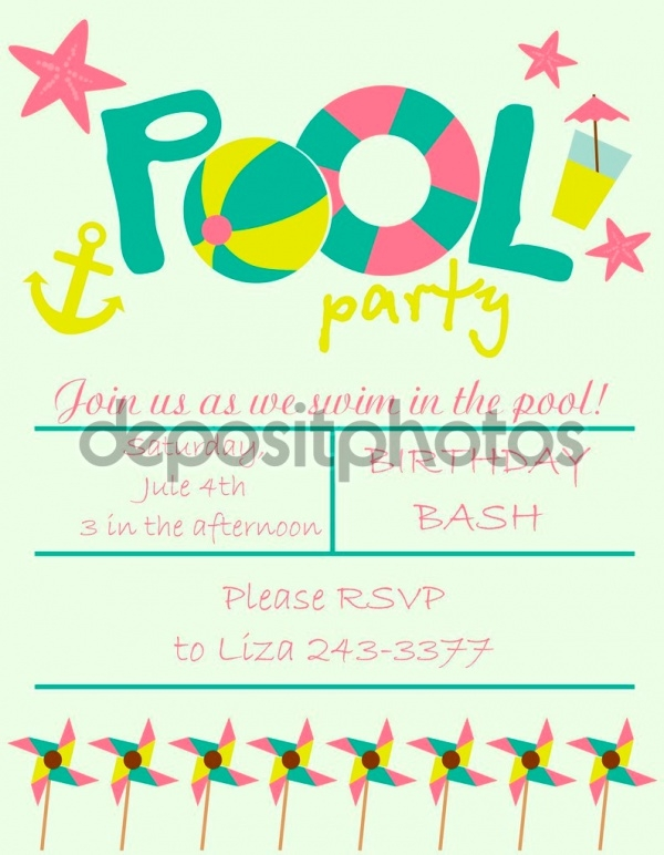 Simple Pool Party Invitation
