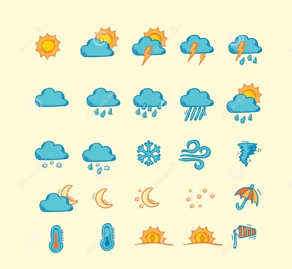 Simple Set of Hand Drawn Weather Icons