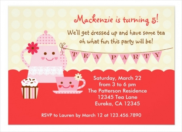 Simple Tea Party Invitation