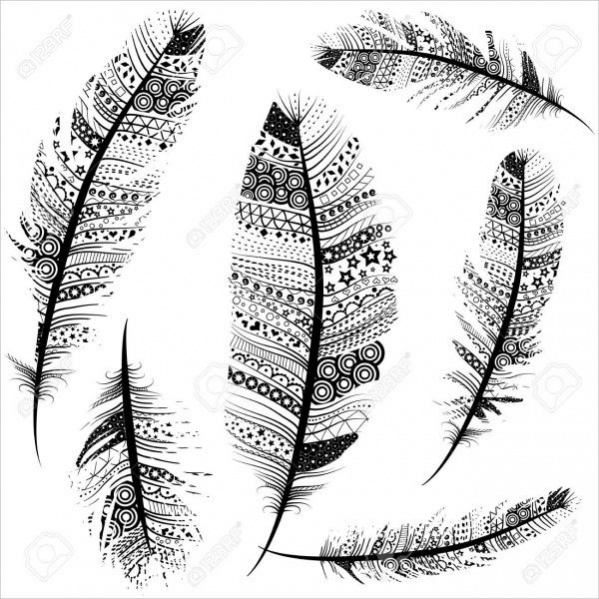 Sketch Tribal Feathers Pattern Design