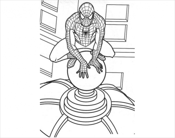 spider man on the roof coloring page