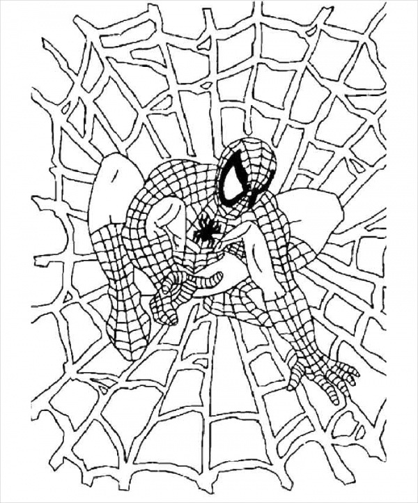 spider man web coloring page