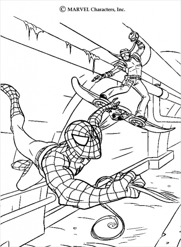 spiderman attacking coloring page