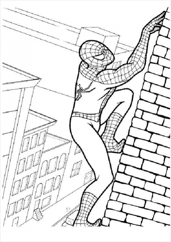 spiderman climbing coloring page