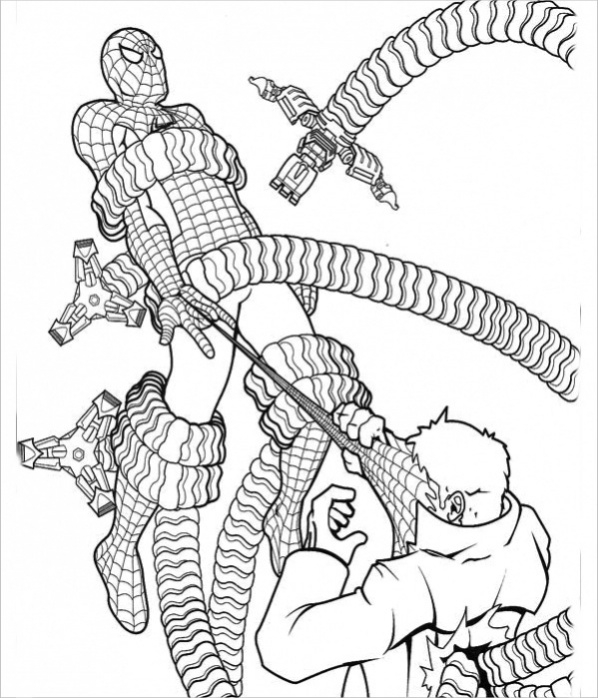 spiderman octopus coloring page2