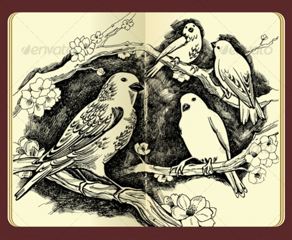 Spring drawing of birds