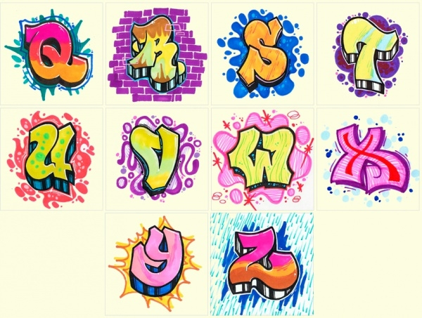 Squared Graffiti Alphabet
