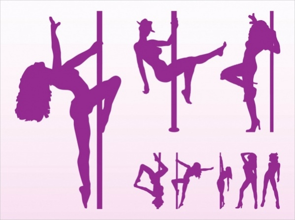 Stripper Silhouettes Vector Graphics