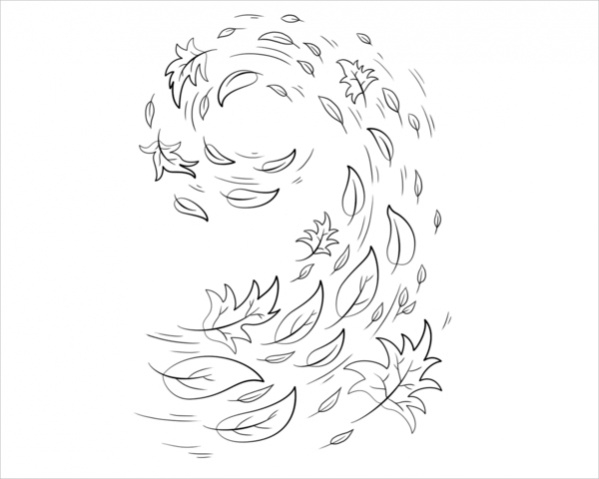 Swirling Fall Leaves Coloring Page