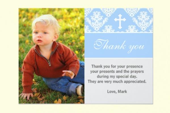 Thank You Baptism Custom Photo Card