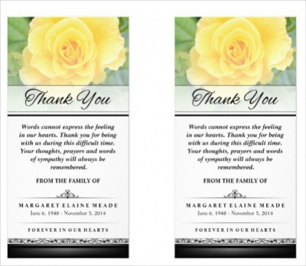 Thank You Funeral Yellow Rose Card