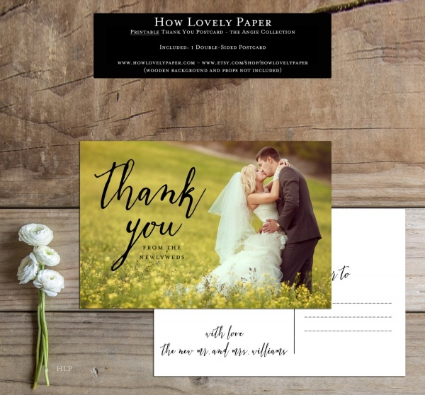 Thank You Postcard For Wedding