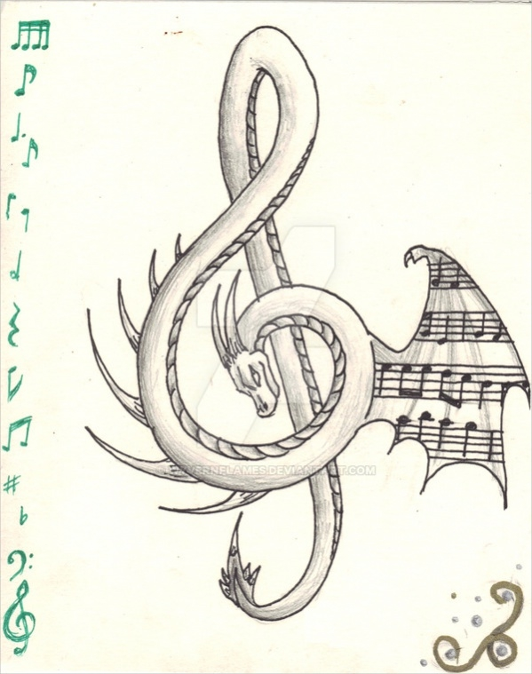The Music Dragon Drawing