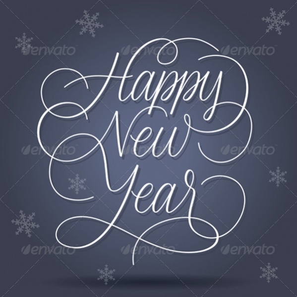 Typography Happy New Year Greetings