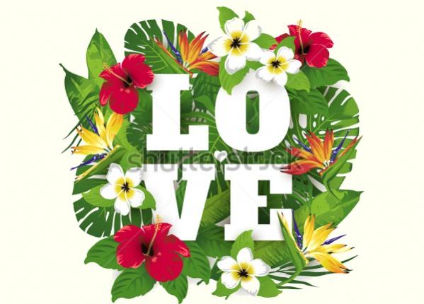 Valentine's Flowers Typography
