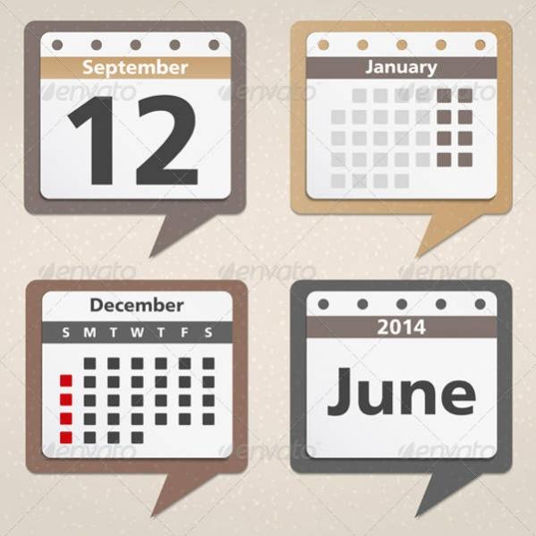 Vector EPS Calendar Icons