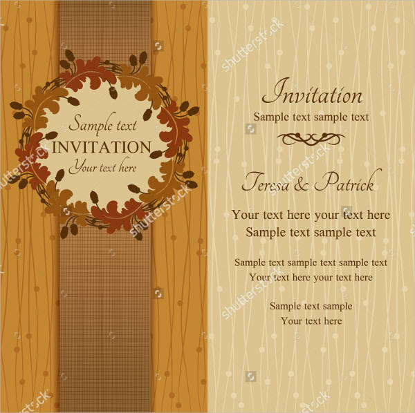 Vector Fall Wedding Invitation