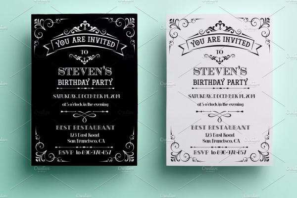 Vintage Birthday Invitation