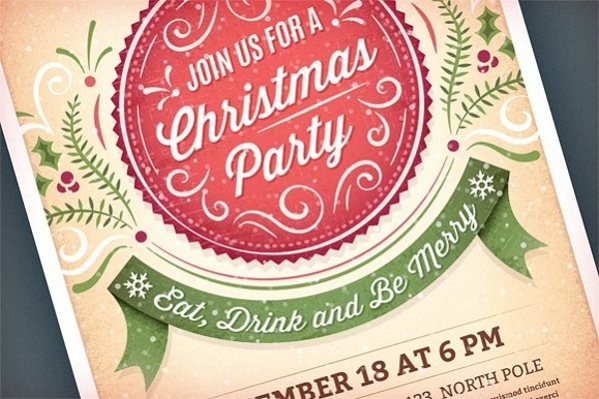 vintage christmas invitation1