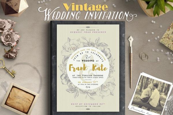 Vintage Diy Wedding Invitation