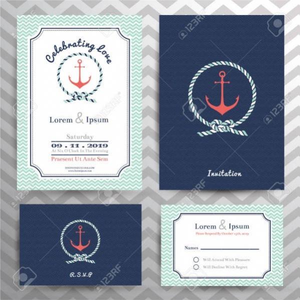 Vintage Nautical Wedding Invitation