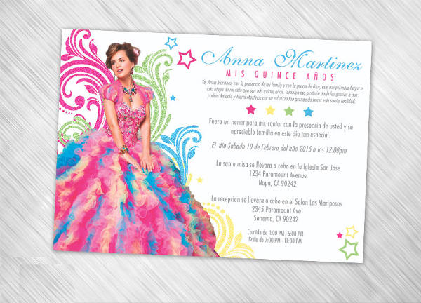 Vintage Quinceanera Invitation