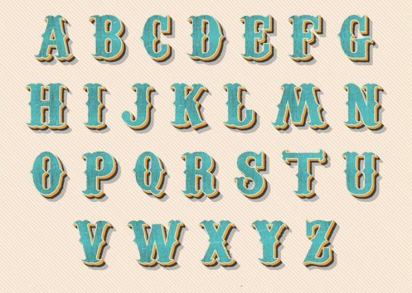 Vintage Retro Style Alphabet Letters