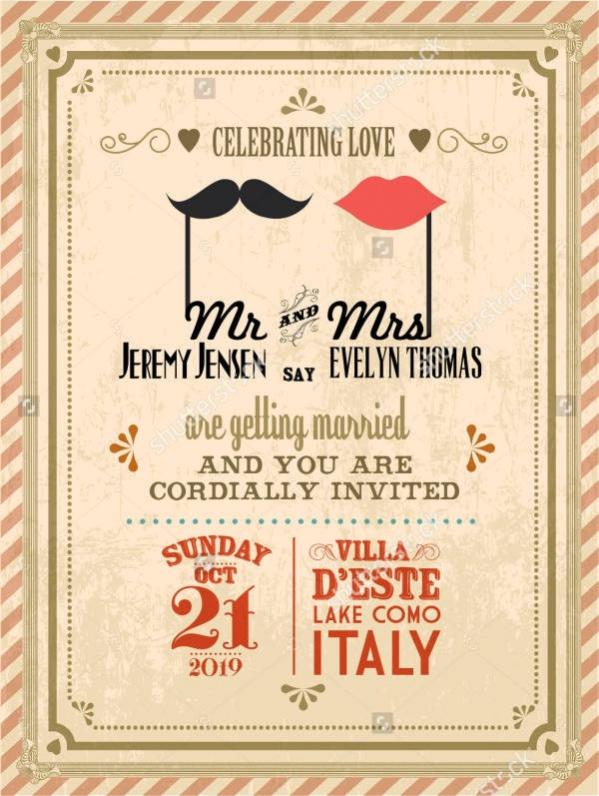 Vintage Save The Date Wedding Invitation