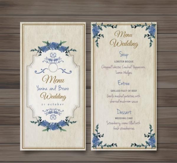 Vintage Wedding Menu Invite