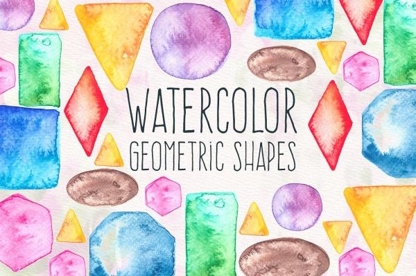 Watercolor Geometric Shapes
