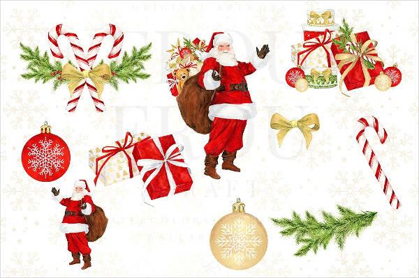 Watercolor Santa Clipart