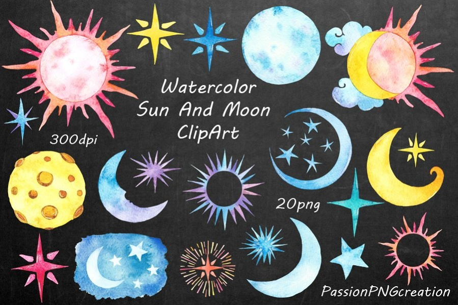 Watercolor Sun and Moon Clipart