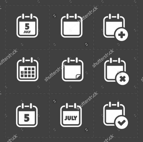White Calendar Icons