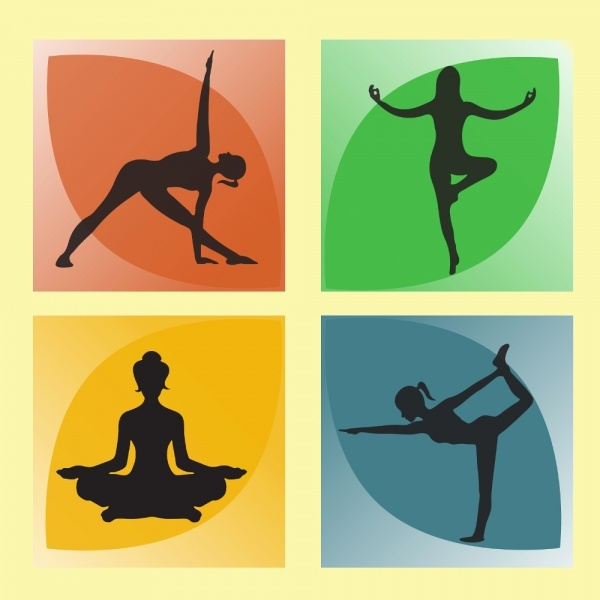 Woman Yoga Poses Silhouette