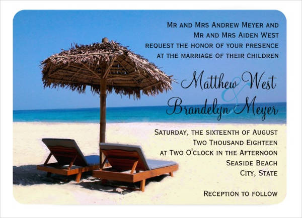 Wonderful Beach Wedding Invitation