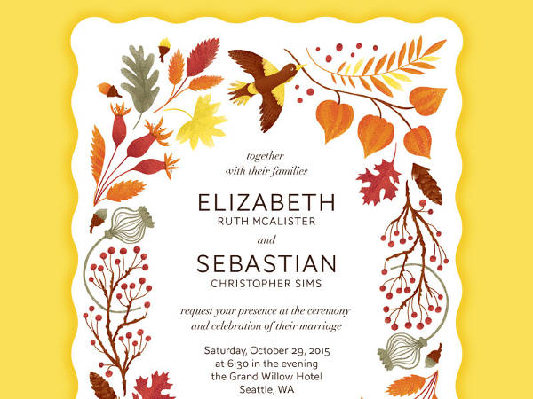 Wonderful Fall Wedding Invitation