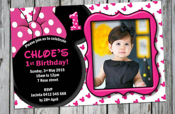 Wonderful Minnie Mouse Birthday Invitation
