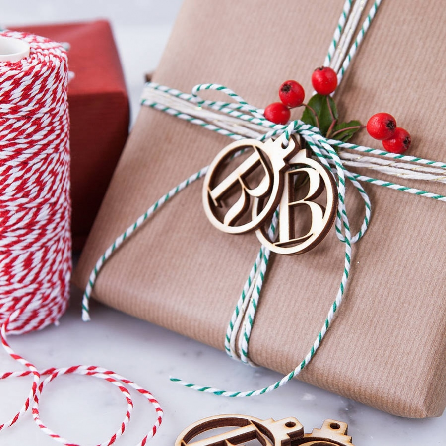 wooden bauble gift tags